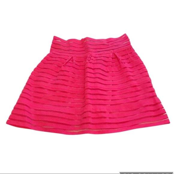 San Joy Dresses & Skirts - NWT San Joy Hot Pink Overlay Stretch Miniskirt